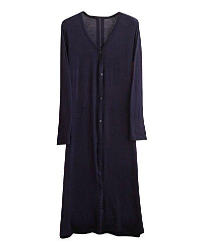 Modal Longues Cardigan Ouverte Jaquette Longue Gilets Cou V Femme Noir Manches OFdfwqFP