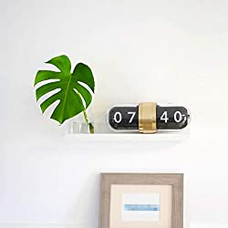 WonderZoo Flip Clock for Wall, Click Down with Premium Glass Cover Case, 15x5.2x6.3 inches, Noiseless, for Office, Home, Kitchen, Bar, Modern Living Room Decor (Gold with Glass)