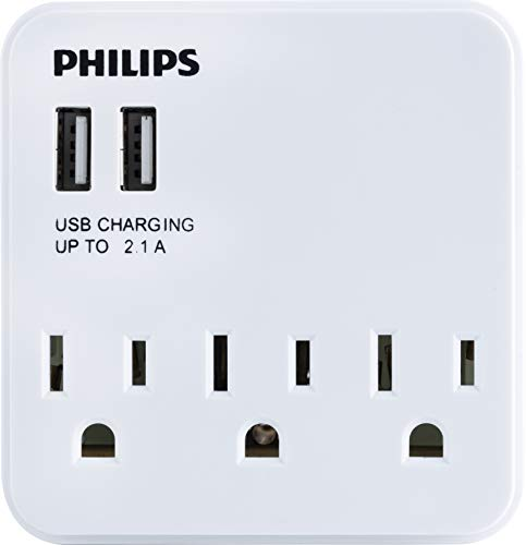 Philips 2 USB 3 Outlet Power Strip Wall Tap, Compact Outlet Adapter, Charging Station, 2 USB Ports, 3 Prong Outlets, ETL Listed, White, SPS6039A/37