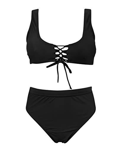 (SHEKINI Women's Two Piece Criss Cross Bandeau Halter Swimsuit Bikini Suits(Large/(US 12-14), Manhattan Black - B))