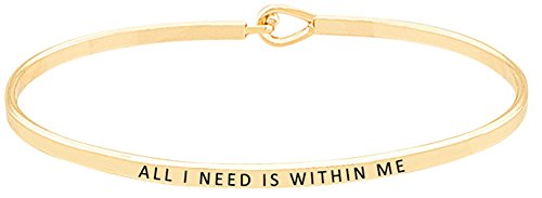 ALL I NEED IS WITHIN ME Inspirational Positive Quote Mantra Message Engraved Thin Bangle Hook Bracelet   Jewelry Gift for Women Teen Girls Gold Tone