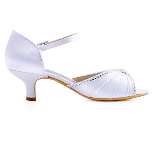 ElegantPark HP1623 Women's Sandals Peep Toe Mid Heel Pumps Pleated Rhinestones Satin Evening Wedding Party Shoes Photo #4
