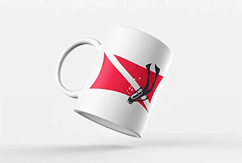 Scuba Flag With Diver Coffee Mug Novelty Gift Idea for Scuba Divers | 11-Ounce Ceramic Mug | CM1023