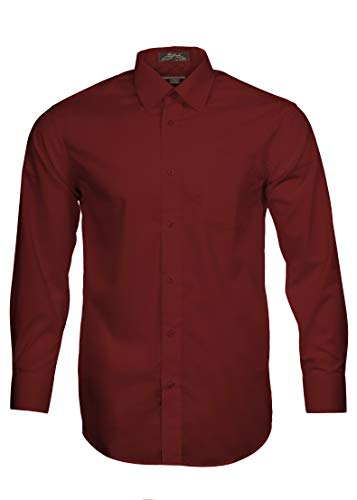 Alberto Danelli Mens Solid Long Sleeve Dress Shirt Wine, XXX-Large/19-19.5 inches Neck, 36/37 inches Sleeve