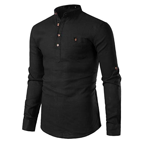 SDCSQ Mens Long Sleeve Shirts Solid Casual Cotton Linen Button Down Chest Pocket Slim Dress Shirt Black (Chest Linen)