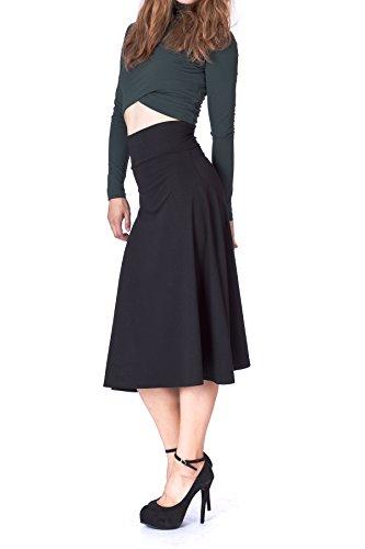 swaying Foldable High Waist A-Line Full Flared Swing Skater Long Skirt (L, Black) (Line Wide Waistband)
