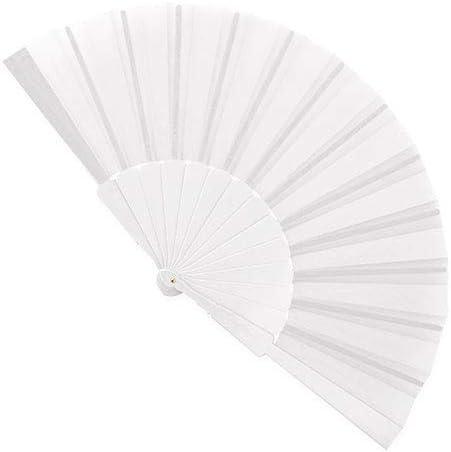 Pack de 50 Abanicos de Bodas PVC y Tela de Color Blanco Abanicos ...