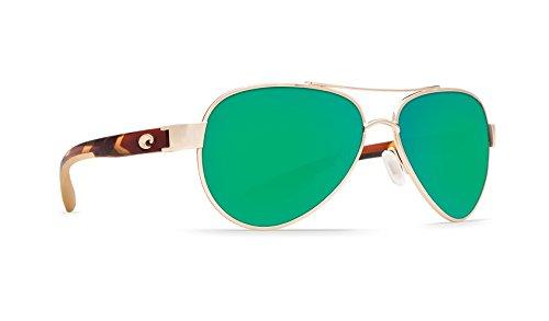 Costa del Mar Women's Loreto Polarized Iridium Aviator Sunglasses, Rose Gold Frame w/Tortoise, 56.5 mm