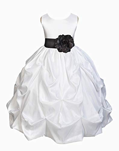 ekidsbridal White Satin Taffeta Flower Girl Dresses Christening Dresses Baptism Dress First Communion Dresses 301S S ()