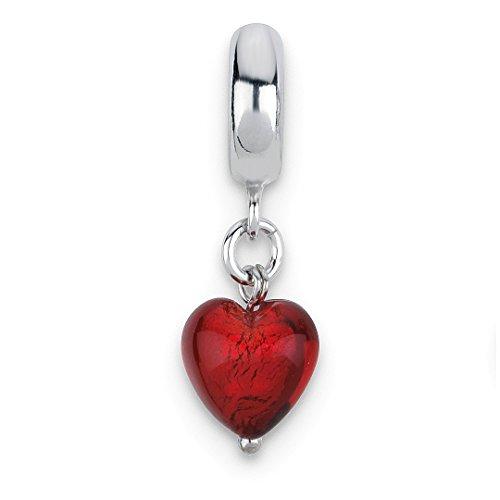 Charm For Bracelet Red Heart Italian Murano Dangle Bead Love Glas Fine Jewelry For Women Gift Set ()