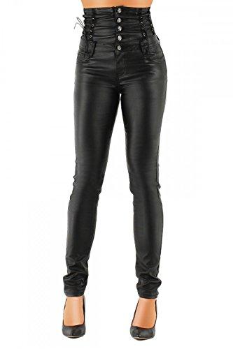 Mujer Piel Sintética Pantalón Skinny (hochschnitt Tubo) 324 negro