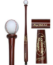 Walking Baseball (Louisville Slugger Leather Baseball Handle Walking Stick - Mahogany Shaft)