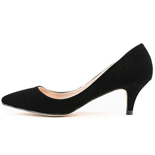 Pointed Toe Velvet Mid Heel Block Heels Kitten Pumps Shoes Women Ladies Black - 7