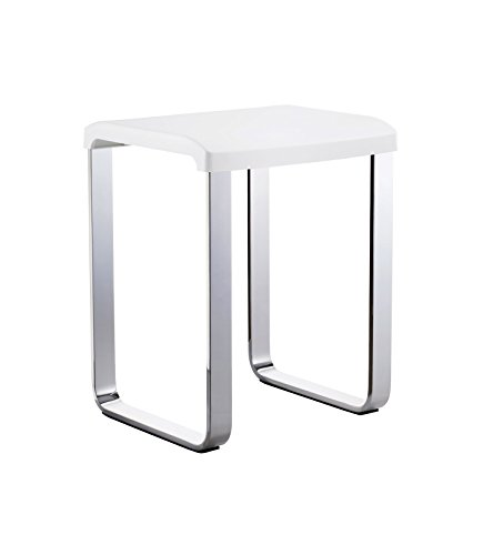 - Smedbo FK406 Shower/Vanity Chair, Polished Chrome/White,