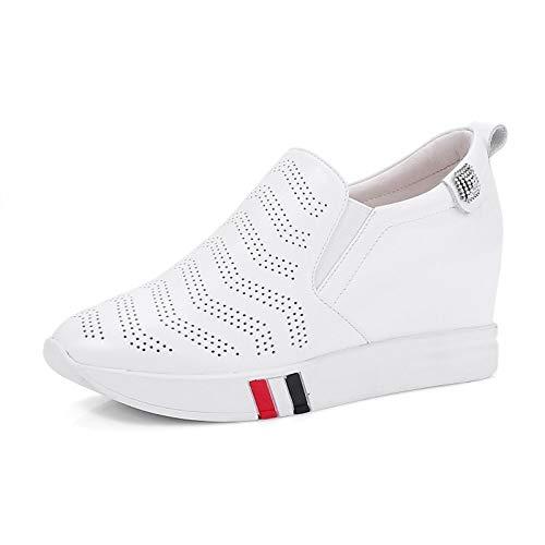 ZHZNVX in donna da Estate White Primavera Nero Scarpe Bianco Sneakers pelle Nappa Comfort Creepers 5rqIfZrw1E