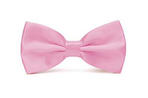 Mens Pre-Tied Satin Bowtie Adjustable Length Solid Color Fashion Patterned bow tie(Pink) (Bowties Pink)