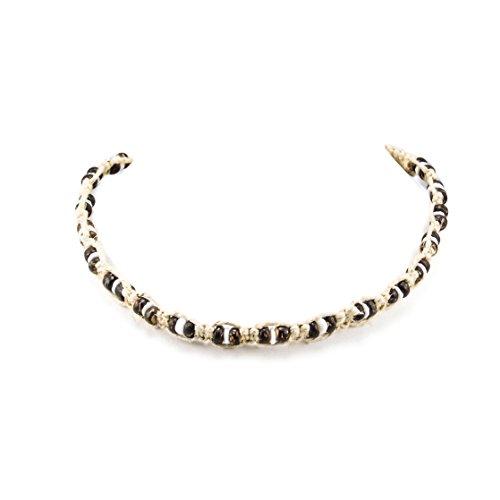 (BlueRica Hemp Choker Necklace With Brown Coconut Beads & Puka)