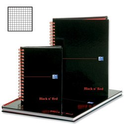 BLK N RED WIRNBK A4 140 Pages Ruled Quad Black N Red Ruled Square