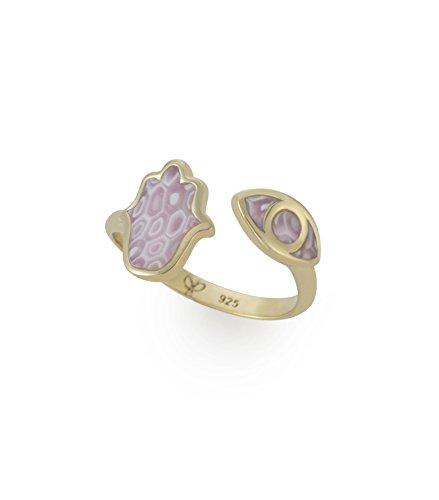 Adina Plastelina 24k Gold Plated Silver (Vermeil) Hamsa and Evil Eye Adjustable Ring, Rose Quartz Pattern Size 6-7 (Rose Millefiori)