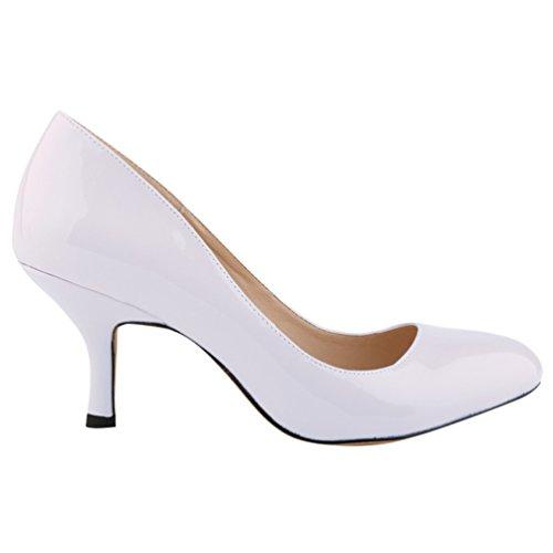 Work Heel WanYang Blanc Pumps Femme Talons Mouth Shallow Toe Bureau Stiletto Pointed Femmes xxv6ZBq