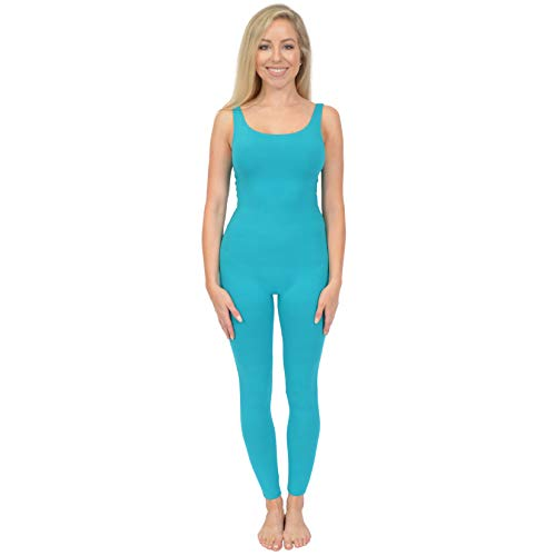Stretch is Comfort Women's Teamwear Cotton Tank Unitard Turquoise Small -