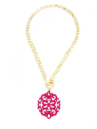 - ZENZII Modern Damask Acrylic Resin Pendant Necklace with Convertible Toggle Chain (Hot Pink)