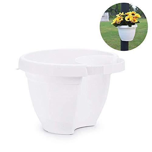 (Mr.Garden Lamp Post Hanging Planter,Post Planter Garden Decor Plastic Flowerpot,UD7.28 xBD4.33 xH5.5 White)