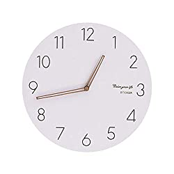 XXBR Wall Clock Silent, Wooden Large Non Ticking Wall Clock Decorative Radio Controlled Wall Clock with Quartz Movement Battery Operated Clock (30cm White)