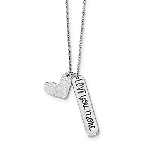 925 Sterling Silver Heart Love You More Chain Necklace Pendant Charm S/love Fine Jewelry For Women Gift Set ()