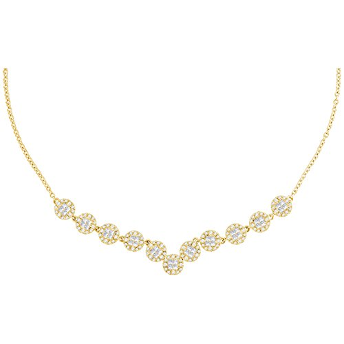 Roy Rose Jewelry 14K Yellow Gold Womens Princess Diamond Soleil Cluster Luxury Necklace 1-7/8-Carat tw