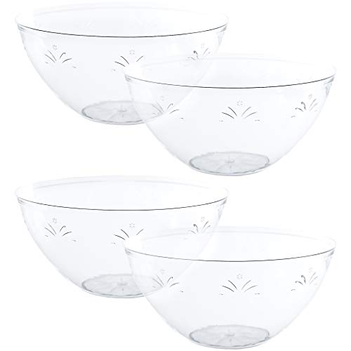 Plasticpro Disposable Round Serving Bowls, Party Snack or Salad Bowl, Medium, Plastic Crystal Clear Pack of 4