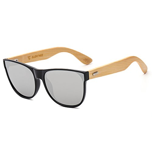 SUERTREE Bamboo Sunglasses for Women Men Vintage Sun Glasses Retro in Wayfarer Style Classic Handmade Wooden Shades Fashion Woodies Eyewear Horn Rimmed UV400 Protection Black Frame Silver - Vintage Shades Company
