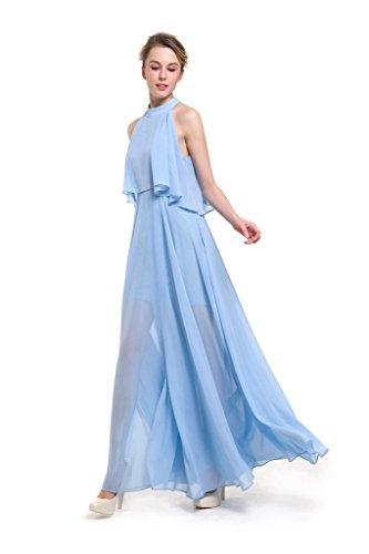 ... GWELL Elegant Damen Chiffon Maxikleid Neckholder Ärmellos Sommer  Frühling Kleider Abend Cocktailkleid Lang Brautjungfernkleid Blau xhW0VKG 1887c03972