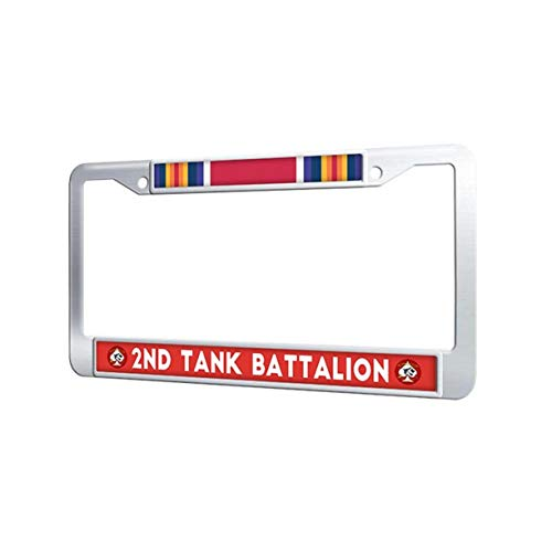 Toanovelty 2nd Tank Battalion License Plate Frame, Popular WW2 Veteran Service Ribbon Stainless Steel Auto License Plate Frame with Screw Cover for Car 6' x 12.5' in
