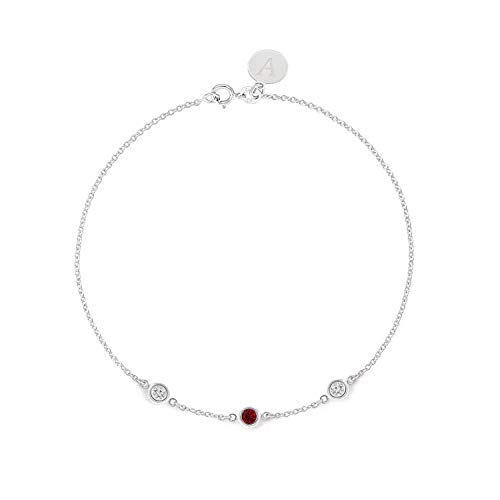 (TousiAttar Ruby and Diamond Bracelet - Bezel set - Solid 14K or 18K Gold - Natural Stone - Elegant Jewelry Gift for Girlfriend - Delicate April and July Birthstones - Free Engraving)