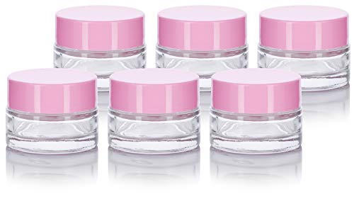 Clear Glass 0.25 oz Small Thick Wall Balm Jars with Pink Foam Lined Smooth Lids (6 pack) ()