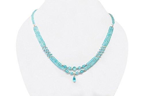 Handmade Beaded Gemstone Jewelry (Handmade Sky-Blue Apatite Beads Necklace with 925 Silver findings 16