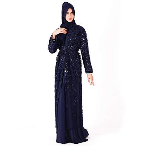 iZHH Muslim Costume for Women Dress Islamic Long Sleeve Maxi Abaya Kaftan Arab Clothes -
