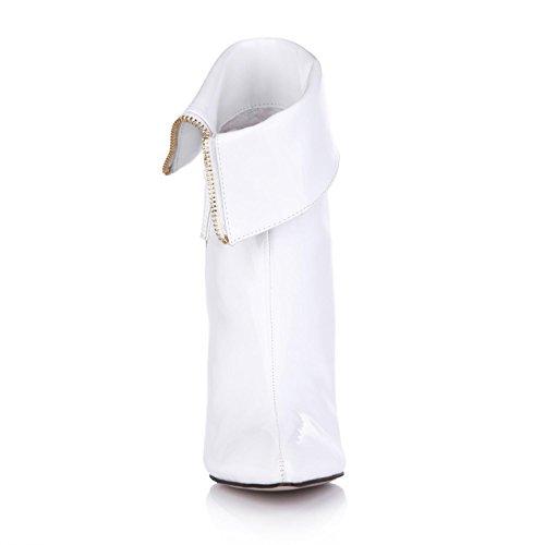 Best 4U® Sandali da donna Primavera Autunno Laccati opalescenti Punta a punta 9.7CM Tacchi alti Suola di gomma Una fibbia Scarpe