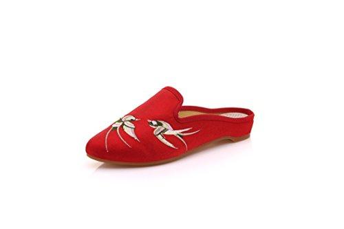 Zapatos Zapatos en el Gules Tela Verano con Primavera Zapatillas para Puntiagudas y hogar Bordados de rqUw8Ar