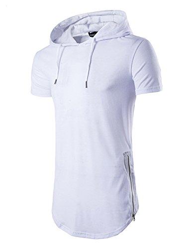 - Men's Hipster Hip Hop Hoodies Side Zipper T Shirt Casual Cotton Pullover Hoodies Shirts (Medium, White)