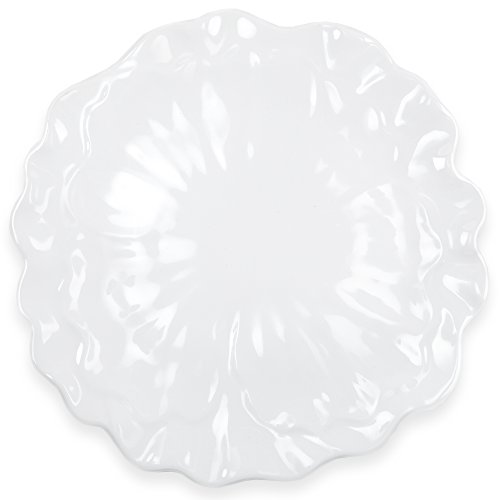 Q Squared Peony BPA-Free Melamine Serving Platter, 16-Inches, White (Plate Peony Round Serving)