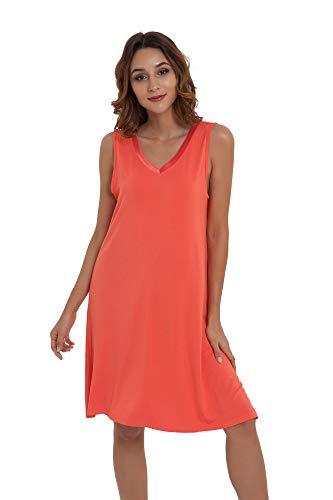 NEIWAI Womens Sleep Shirt Bamboo Nightgowns V Neck Nightshirt Peach Pink M