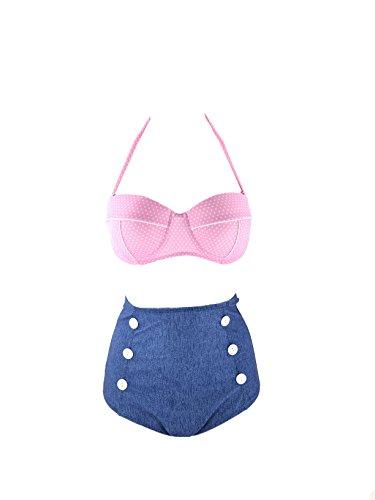NEW OCEAN Retro Jeans Style Floral Halter High Waist Bikini Two Piece Swimsuits (S(US4-6), - Waist Bikini High Denim