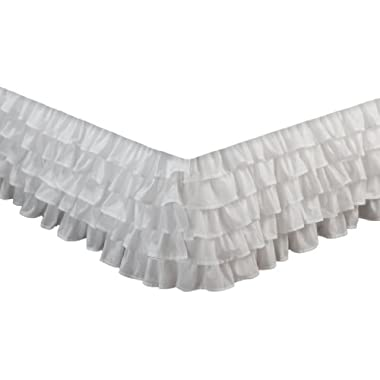 Greenland Home Fashions Multi-Ruffle Bed Skirt, White, Queen