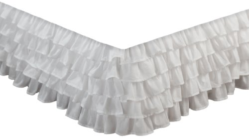 Greenland Home Fashions Multi-Ruffle Bed Skirt, White, - Country Bedskirt