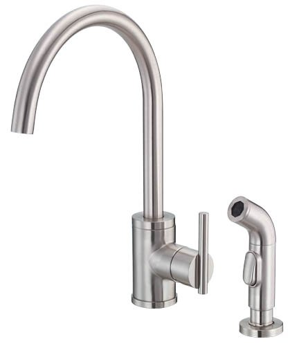 Beau Danze D401558SS Parma Single Handle Kitchen Faucet With Side Spray,  Stainless Steel
