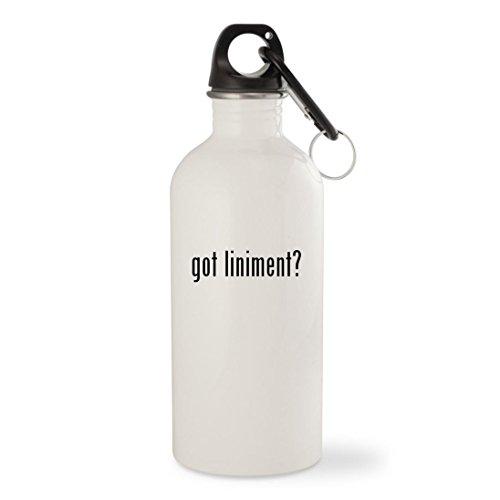 got liniment? - White 20oz Stainless Steel Water Bottle with Carabiner - Vetrolin Liniment Gel