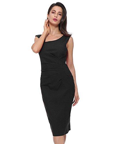 Kenancy Mujer Vestido de Fiesta Elegante Falda Lápiz sin Mangas Collar Irregular Bodycone S-2X Negro