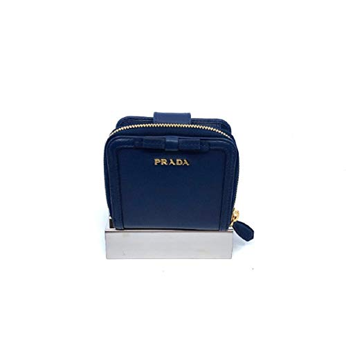 Prada Portafoglio Lampo Navy Blue Vitello Move Zip Flap Bow Wallet 1ML522